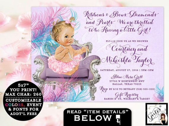 Pink purple & teal Baby shower invitation purple teal, ruffles and bows, vintage pearls tutus lavender baby girls invites, digital download.