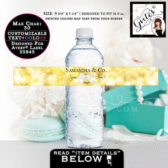 "Prom Water Bottle Labels, Graduation water stickers, decorations, gold water bottle wrapper. 9.75x1.25""/5 Per Sheet {Designed Avery® 22845}"