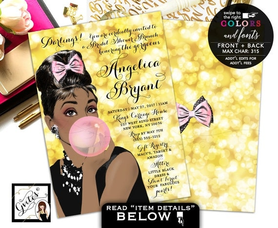 Breakfast at Tiffany's Bridal Shower invitations, gold and pink African American, Audrey Hepburn wedding shower, DIGITAL 5x7, double sided.