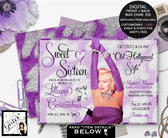 Hollywood theme sweet 16 invitation, purple and silver birthday Marilyn Monroe glitz glam, quinceanera,sixteen, 5x7 double sided