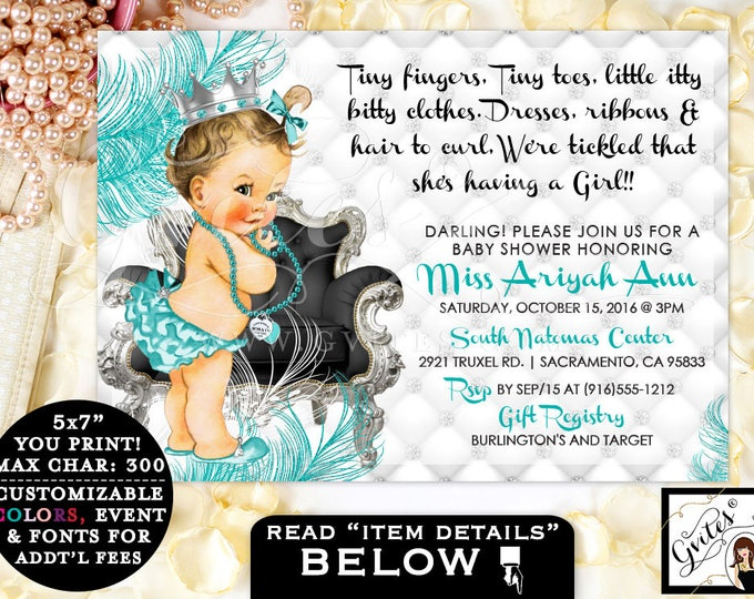 Breakfast at Tiffany's BABY SHOWER invitation, Princess diamonds pearls, turquoise blue & silver girl invitations, tiny fingers tiny toes