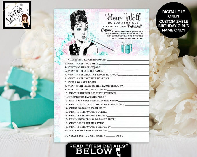 "How Well Do You Know The Birthday Girl - Audrey Hepburn party theme printable games, blue breakfast at co, PERSONALIZED NAME 5x7"" 2/Per Sh"