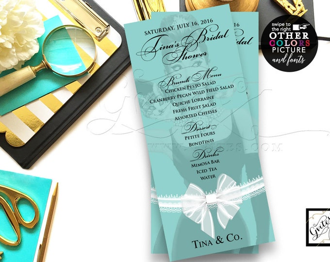 Breakfast at menu cards, bridal shower menus, customizable Audrey Hepburn party printables, table signs blue and co menus, 4x9 DIGITAL