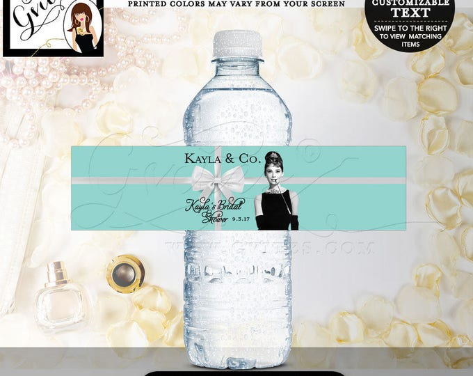 Breakfast at Tiffanys Party Favors, Water Bottle Labels, Audrey Hepburn Printable Bridal Shower Gifts Stickers, Bottle Wrappers, DIGITAL!