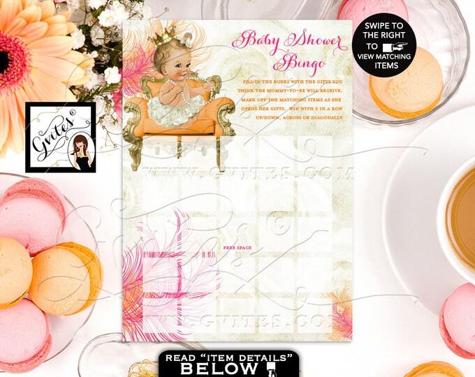 Baby shower bingo cards, pink gold ivory orange, pink and gold, orange and gold, princess bingo printable, baby shower 5x7/2 per sheet