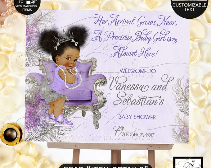 Purple Silver Lavender Baby Shower Welcome Sign, Lavender silver princess ethnic, printable poster sign, african american. #TC-006-LPSS