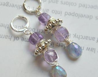 earrings, labradorite earrings, amethyst earrings, purple earrings, bohemian earrings, boho chic earrings, gift for her, biker chic