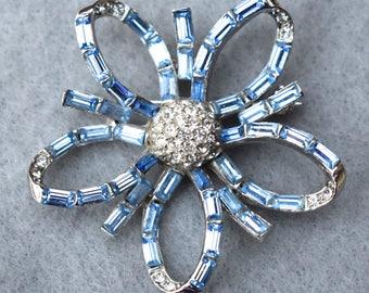 Blue Baguette Rhinestone Flower Brooch Vintage
