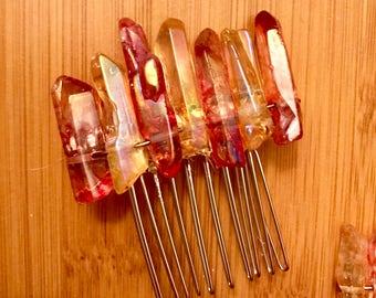 Fire Crystal Quartz Hair Comb