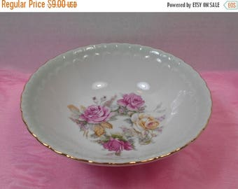 SALE Seafoam Green and Pink Rose Serving Bowl