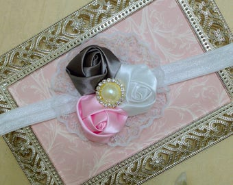 Baby Headband - Flower Headband - Newborn Headband - Toddler Headband- Satin Rosettes Headband