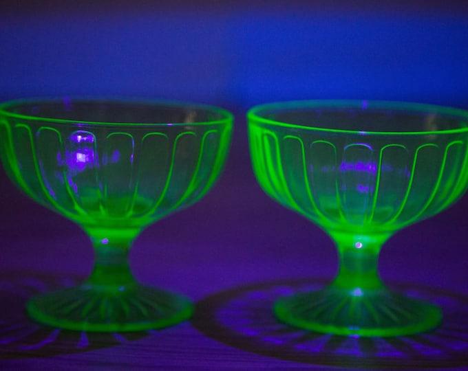 Vaseline Glass Dessert Bowls / Pair of Antique Uranium Ice Cream Depression Glass Collectible Serving Cups / Glows Under Blacklight