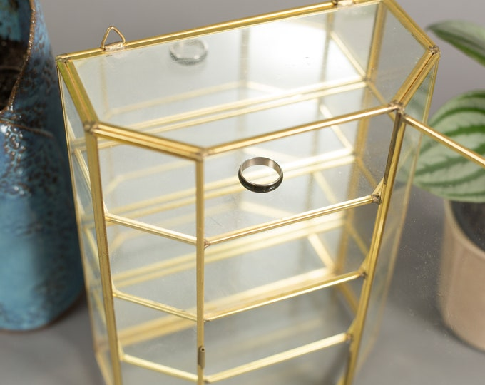 Glass Jewelry Box - Vintage Brass and Glass Geometric Standing Wall Jewelry Storage with 4 shelves - Handmade Mirrored Display Cabinet