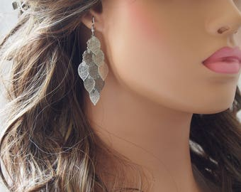 Rhodium Plated Laser Cut Leaf Dangle Earrings, Cascading Leaves Earrings, Silver Earrings, Gifts (71MM X 30MM)