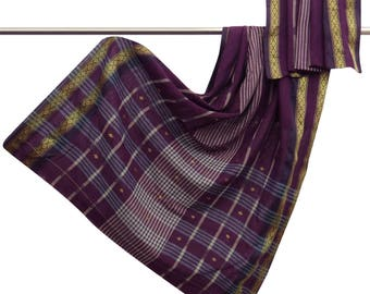 Vintage Indian Traditional Upcycled Woven Used Pure Cotton Saree Purple Ethnic Sari Decor Craft Fabric 5YD CS9899