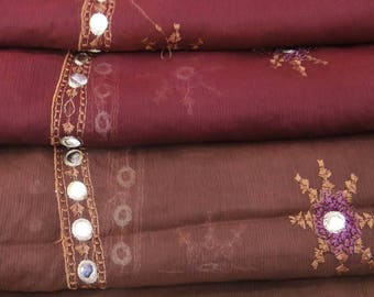 Free Shipping Vintage Dupatta Long Indian Scarf Pure Chiffon Embroidered Maroon Veil Stole Decorative Fabric DP23963