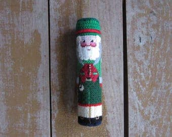 Vintage Needlepoint Grandfather Santa Ornament, Father Christmas Tree Ornament, Handmade,Unique Needlepointed Green Santa,Christmas Ornament