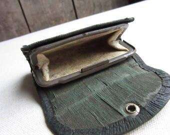 Authentic Antique Change Purse,Wallet,Steampunk Accessories, Vintage Steampunk,Original Vintage Change Purse,Wallet,Green,Distressed,Costume