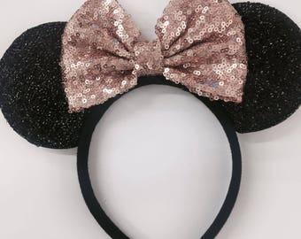 Rose gold sequin mickey minnie ears / sparkle gold ears / disney mickey minnie Rose Gold/ minnie ears / Rose gold headband/Disney party