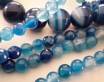 BLUE agate gemstone beads