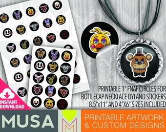 "INSTANT DOWNLOAD / FNAF 1"" images for bottlecap necklaces / stickers / favors / clipart"