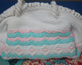 NEVER USED! 1940s 50s White Blue Pink Rug Woven Weave Cotton Purse Handbag Pocketbook