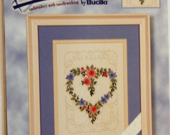 "Expressions embroidery with candlewicking kit by Bucilla 42680 Floral Heart 5"" x 7"" Crewel embroidery and candlewicking"