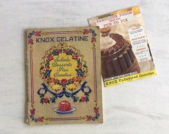 Vintage 1943 Knox Gelatine Recipe Booklet for Salads, Desserts, Pies, Candies