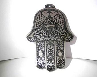 SALE big hamsa, goodluck charm,hamsa evil-eye protection,1970's,antique,lucky charm,jewish hamsa,long hamsa