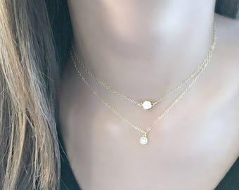 layered cz solitaire necklace cz jewelry cz pendant cubic zirconia jewelry 14k gold filled beach jewelry April Birthstone beach Wedding gift