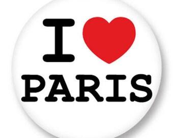 X 1 Cabochon I LOVE PARIS metal 25mm