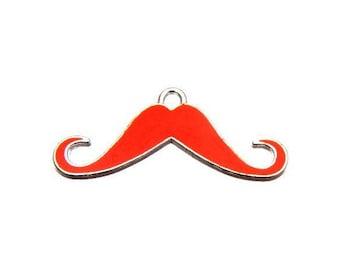 X 1 mustache orange neon enamel 35mm
