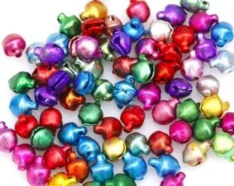 X 10 bells metal Mix colors 6mm