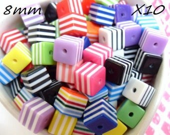 X 10 mix color 8mm striped square beads