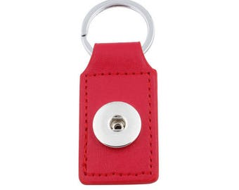 Keychain rectangle red faux leather snap button