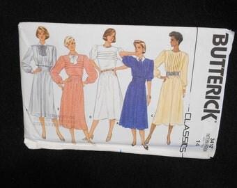 Butterick 3412 Misses Womens Size 14 Loose fitting Dress Cummerbund tucks