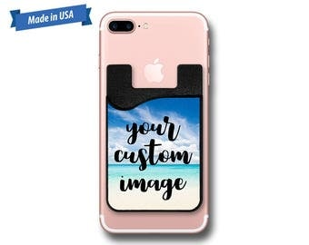 Custom Image Phone Caddy - Sticker Pocket Wallet - Personalized Cell Phone Pocket PC0002