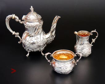 1933 German Third Reich period solid Sterling Silver Tea Coffee Set /600 gr