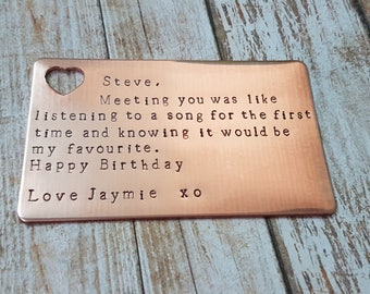 Love note hand stamped Copper personalised plaque wallet card with top heart cut out you choose the message