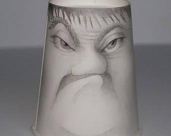 Not Havin' It  - cup art - original drawing - coffee cup redux - Micali -Free domestic U.S. Shipping
