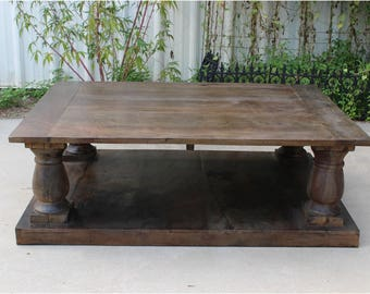 Antique Replica Solid Wood Coffee Table w Pillars Aged Furniture