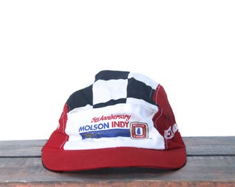 Vintage 90's Molson Export Beer Indy Car Racing Canada 5 Panel Unstructured Elastic Back One Size Hat Baseball Cap