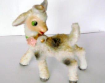 Mid century, vintage lamb with capodimonte style flowers, animals, lambs, lamb figurine,  collectible figurines, farm animals, mid century