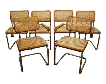 Set of 6 Mid-Century Danish Modern Marcel Breuer Style Caned Dining Chairs