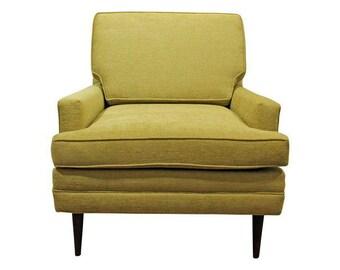 Mid-Century Danish Modern Thayer Coggin Style Chartreuse Pencil Leg Club Chair