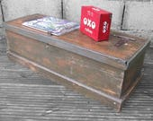Rustic Pine Industrial Tools Chest Box 1940s Storage Coffee Table