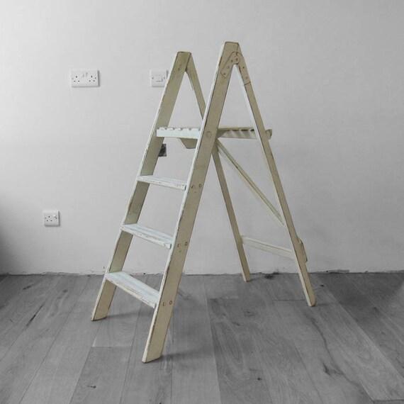 Vintage Step Ladders Rustic Pine Painted Green