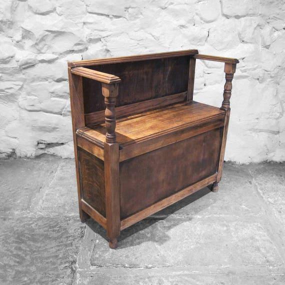 Oak Settle Bench Seat Vintage Childs Toy Shoe Storage Box Pew Wood Old 1940s