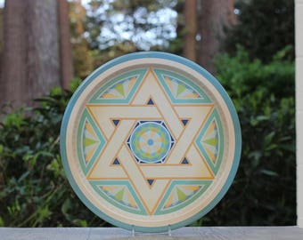 Vintage Jewish Tin Tray / Star of David Tin Tray / Judaica Tray / Jewish Serving Tray / Decorative Jewish Tray / Star of David Serving Tray