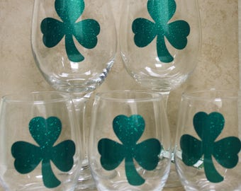 Shamrock - Four Leaf Clover - St. Patrick's Day  Wine Glass